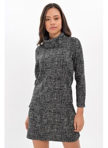Cottonmood 94271092 Cam Kırığı Desen Degaje Yaka Uz.Kol Elbise Siyah Siyah